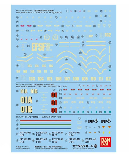 Bandai Gundam Decal No.113 for 1/144 Scale Gundam The Origin Multiuse 2