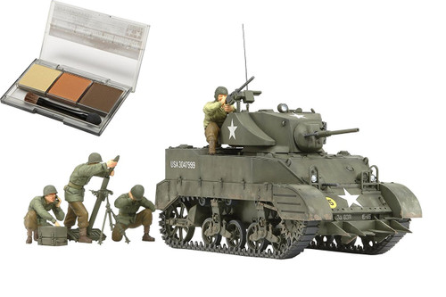 Tamiya 25134 M5A1 U.S. Light Tank 'Pursuit Operation' Set (w/4 Figures) 1/35 Kit