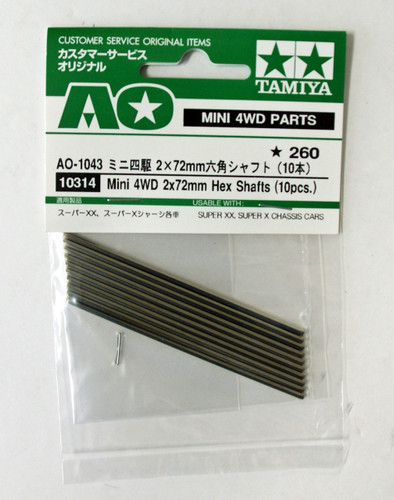Tamiya AO-1043 Mini 4WD 2x72mm Hexagon Shafts (10 pcs.) (10314)