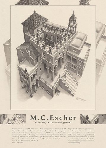 Epoch Jigsaw Puzzle 06-100 Maurits Cornelis Escher Ascending & Descending 1960 (500 Pieces)