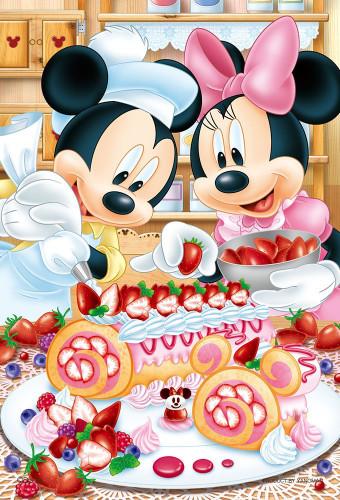 Yanoman Jigsaw Puzzle 99-445 Disney Mickey Minnie Berry Berry Roll Cake (99 Small Pieces)