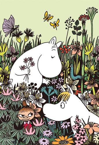 Yanoman Jigsaw Puzzle 03-874 Moomin Flower Garden (300 Pieces)