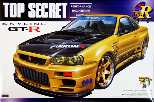 Aoshima 41727 Nissan Skyline GT-R (R34) Top Secret 1/24 Scale Kit