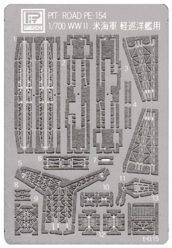 Pit-Road Skywave PE154 Photo-etched Parts for WWII United States Navy Light Cruiser 1/700