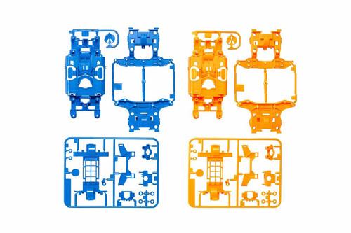 Tamiya 95386 Mini 4WD MS Chassis Set Light Blue/Orange