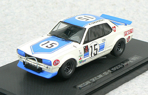 Ebbro 43240 Nissan Skyline GT-R KPGC10 Racing No.15 (White/Blue) 1/43 Scale