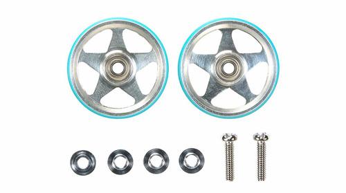 Tamiya 95397 19mm Alum 5 Spoke Rollers w/Plastic Rings (Light Blue)