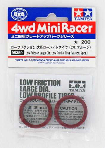 Tamiya 95389 Mini 4WD Low Friction Large Dia. Low Profile Tires (Maroon, 2pcs.)