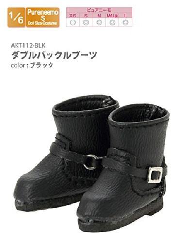 Azone AKT112-BLK Double Buckle Boots Black