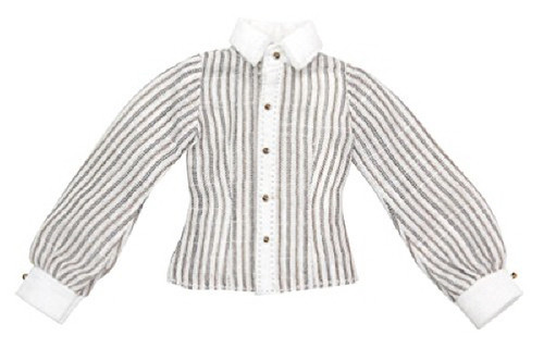 """Azone ALB165-BRN Forest Cloth Store """"PNXS Pin Striped Cleric Shirt"""" Brown Stripe"""
