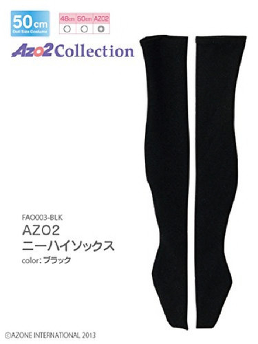 Azone FAO003-BLK Azo 2 Knee High Socks Black