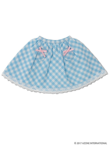 Azone KPT021-LBL Mushroom Planet 'Little Pocket Skirt' Light Blue Check
