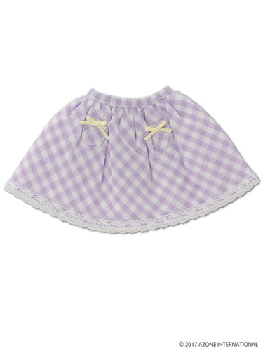 Azone KPT021-PPL Mushroom Planet 'Little Pocket Skirt' Purple Check