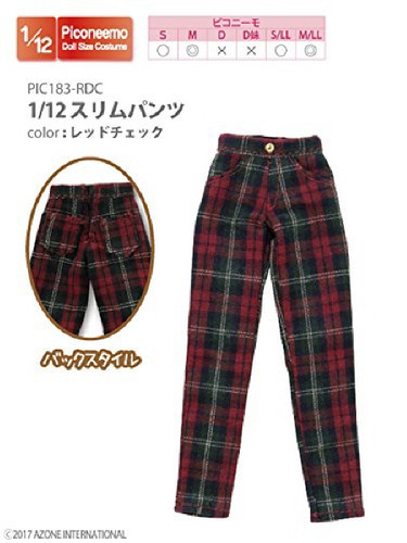 Azone PIC183-RDC 1/12 Straight Pants Red Check