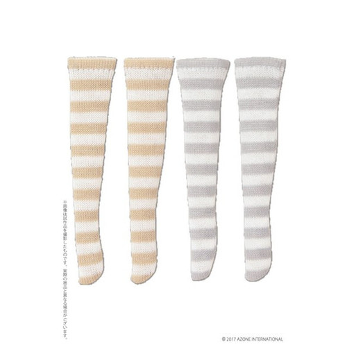Azone PIC191-ASB 1/12 Border Socks B Set White x Beige, White x Gray