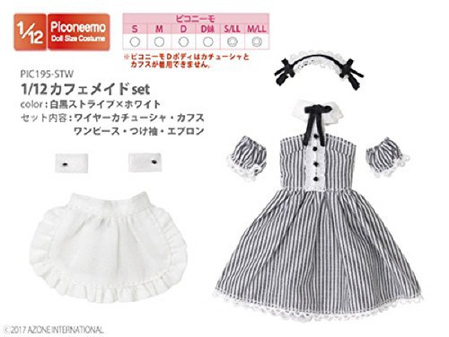 Azone PIC195-STW 1/12 Cafe Maid Set Black And White Stripe x White