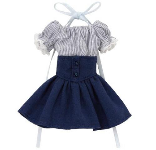 Azone PIC202-NVN 1/12 Off-Shoulder Sunny One Piece Dress Navy Stripe x Navy