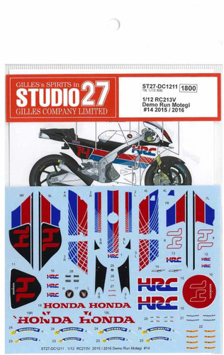 Studio27 ST27-DC1211 RC213V Demo Run Motegi #14 2015/2016 for Tamiya 1/12 Scale