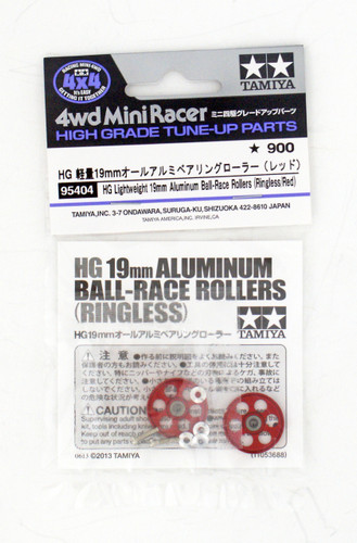 Tamiya Mini 4WD 95404 HG Lightweight Aluminum Ball-Race Rollers 19mm (Ringless/Red)