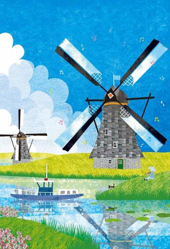 Epoch Jigsaw Puzzle 26-296 Tatsuo Hari Fairy Tale Art Kinderdijk Netherlands (300 Pieces)