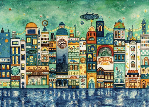 Epoch Jigsaw Puzzle 06-103 Noriko Nishimura Fairy Tale Art Night Town Full of Stars (500 Pieces)