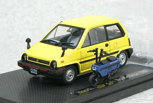 Ebbro 44017 HONDA CITY Yellow with Motocompo Blue 1/43 Scale