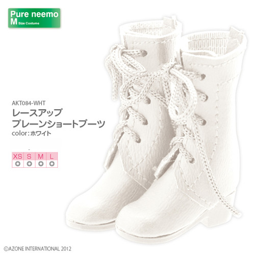 Azone AKT084-WHT Pure Neemo Lace Up Plain Short Boots White