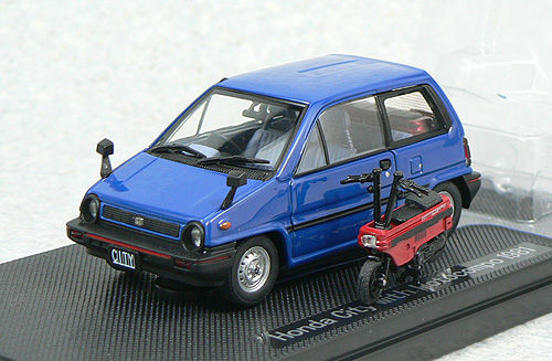 Ebbro 44018 HONDA CITY Blue with Motocompo Red 1/43 Scale