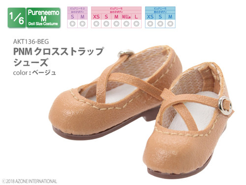 Azone AKT136-BEG Pure Neemo PNM Cross Strap Shoes Beige