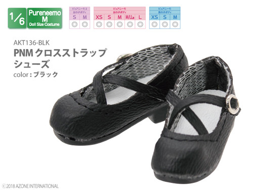 Azone AKT136-BLK Pure Neemo PNM Cross Strap Shoes Black