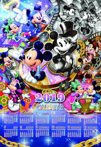 Tenyo Japan Jigsaw Puzzle D-1000-497 Mickey Fashion History 2019 Calendar (1000 Pieces)