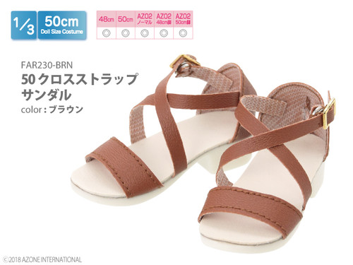 Azone FAR230-BRN 50cm doll Cross Strap Sandals Brown