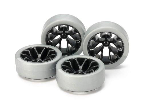 Tamiya Mini 4WD 95412 Hard Low-Profile Tires (Silver) & Carbon Wheels (Y Spoke)