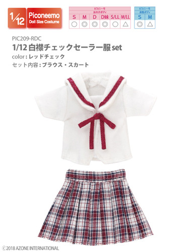 Azone PIC209-RDC 1/12 Picco Neemo Sailor School Uniform Red Check