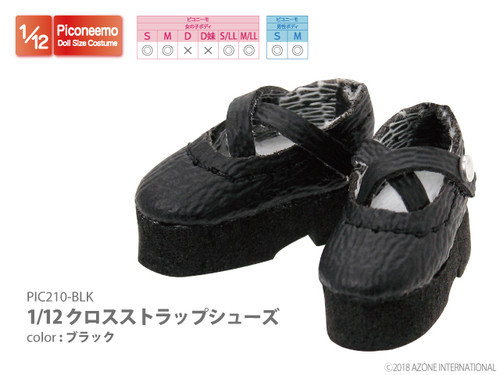 Azone PIC210-BLK 1/12 Picco Neemo Cross Strap Shoes Black