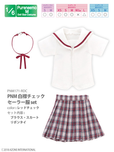 Azone PNM171-RDC 1/6 Pure Neemo M White Collar Check Sailor Uniform Red