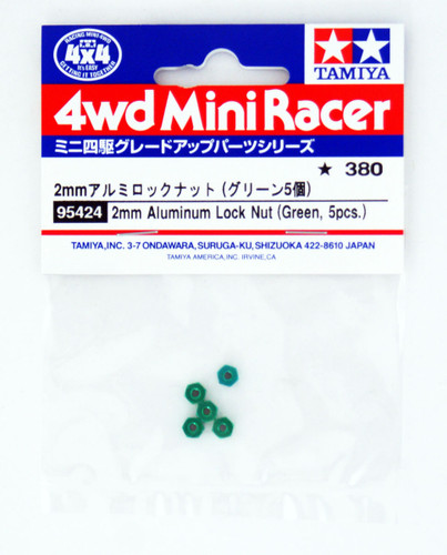 Tamiya Mini 4WD 95424 2mm Aluminum Lock Nut Green (5 pcs.)