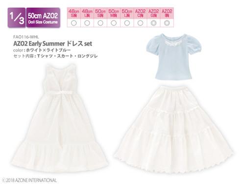 Azone FAO116-WHL 50cm AZO2 Early Summer Dress Set White x Light Blue