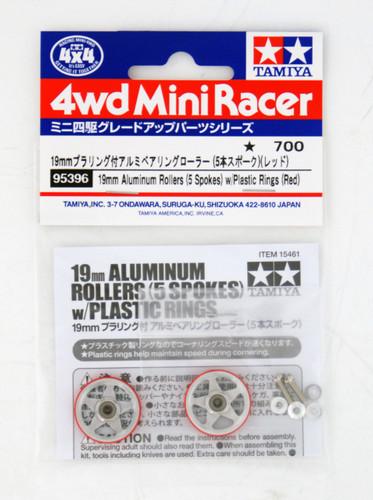 Tamiya 95396 Mini 4WD 19mm Aluminum Rollers (5 Spokes) w/Plastic Rings (Red)