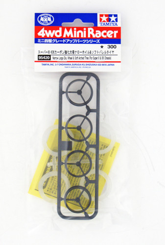 Tamiya 95420 Mini 4WD Narrow Large Dia. Wheel & Soft Arched Tires (for Super X/Xx Chassis)