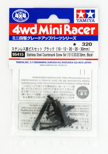 Tamiya Mini 4WD 95415 Stainless Steel Countersunk Screw Set Black (10/12/20/25/30mm)