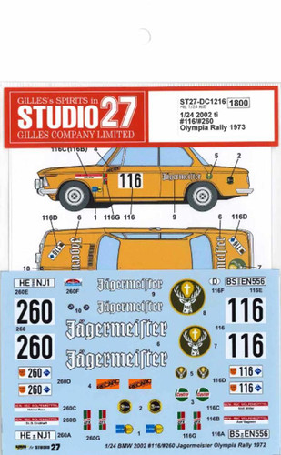 """Studio27 ST27-DC1216 2002 ti #116/#260 """"Jagermeister"""" Olympia Rally 1973 Decal for Hasegawa 1/24 Scale"""