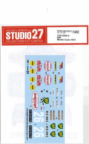 Studio27 ST27-DC1217 2002 ti #26 Monte Carlo 1971 Decal for Hasegawa 1/24 Scale