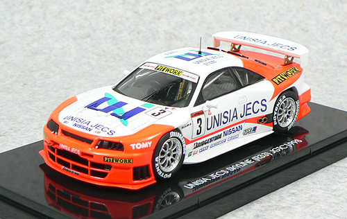 Ebbro 44194 Unisia JECS Skyline R33 JGTC 1998 No.3 (White/Orange) 1/43 Scale