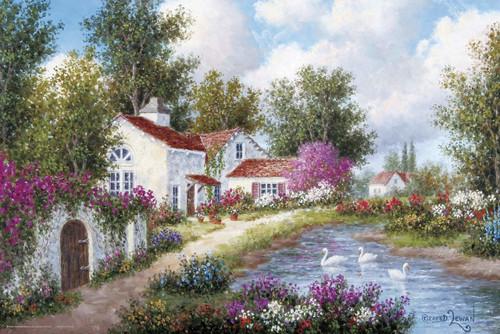 Yanoman Jigsaw Puzzle 10-1332 Dennis Lewan Three Swans (1000 Pieces)