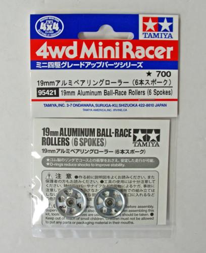 Tamiya 95421 Mini 4WD Aluminum Ball-Race Rollers (6 Spokes)