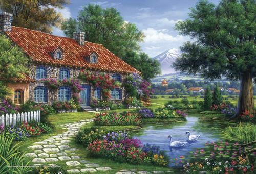 Yanoman Jigsaw Puzzle 03-887 Arturo Zarraga Cottage with Swans (300 Pieces)