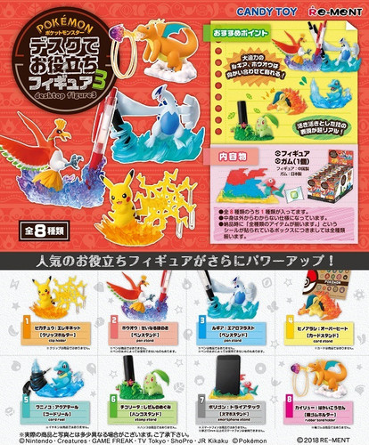 Re-ment 204475 Pokemon Desktop Figures 3 1 BOX 8 Figures Complete Set