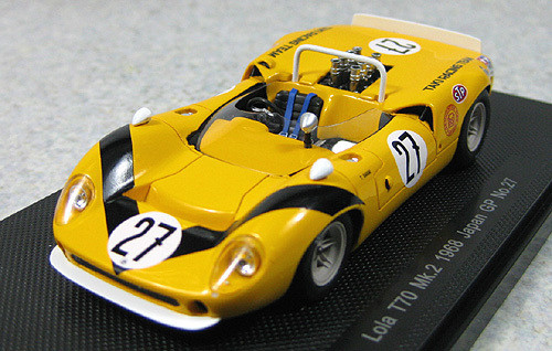Ebbro 44274 Lola T70 Mk.2 1968 Japanese GP No.27 (Yellow/Black) 1/43 Scale
