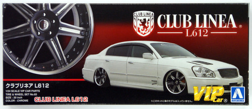 Aoshima 46449 CLUB LINEA L612 20 inch Wheel & Tire Set 1/24 Scale Kit